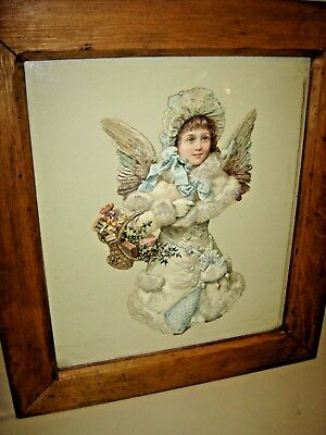 Antique Die cut Winter Angel Framed  Blue eyed Winter Angel with a basket 335