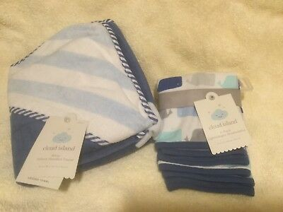 Cloud island Hooded towel and 6 pack of wash cloths