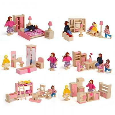 Wooden Furniture Miniatures Dolls House Room Accessories Kids Pretend Girl Toys