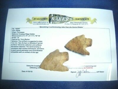 KILLER TENNESSEE WADE POINT - W/COA - Arrowhead - Birdstone - Indian Artifact