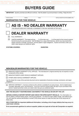 Car Dealer Buyers Guide Forms, AS IS, 300 count, Car Lot Forms