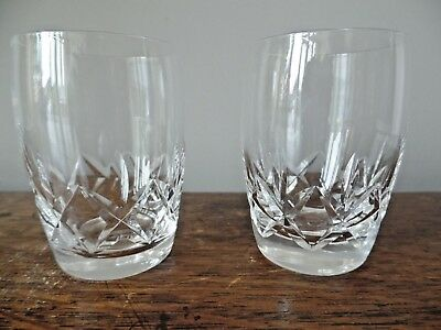Two Stuart Crystal Glass Carlingford Pattern Barrel Tumblers