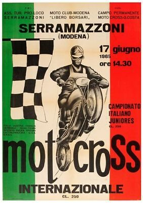 Vintage 1965 Modena Italy Motocross Poster Print A3/A4