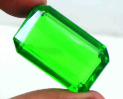 58.05Ct EGL Certified Green Moldavite Attractive Emerald Cut Loose Gemstone BY24