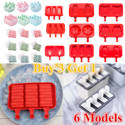 Silicone Block Pole Lolly Ice Cream Popsicle Make Mold Frozen Mould DIY Tool Lot