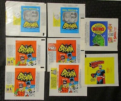 1960's BATMAN SUPERMAN SUPER HERO Trading Cards Wrapper Mixed LOT of 8 VG/VG+