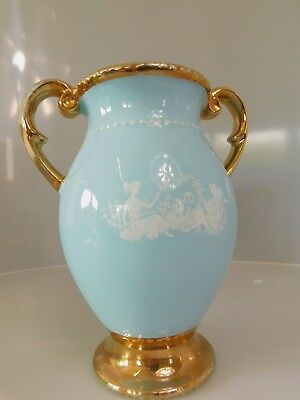 Medium Vintage Gold Gilded Double Handled Oldcourt Ware English Vase