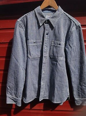 "THE FLAT HEAD HICKORY STRIPE SHIRT VINTAGE 40"" chest"