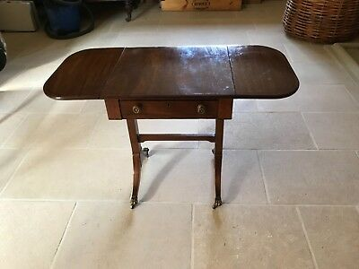Original Regency mahogany side table with drop down leaves. Genuine antique