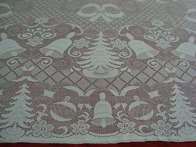 "NEW One CHRISTMAS TREE & BELLS LACE CROCHET TABLECLOTH White 60"" x 85"" Rectangle"