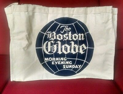 BOSTON GLOBE Newspaper Newsboy Canvas Delivery Bag Printed Both Sides RARE