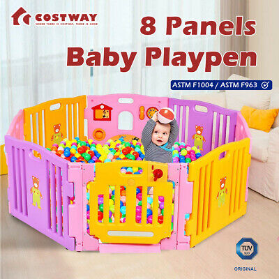 SALE! Baby Playpen Interactive Kids Play Room Toddler Safety Gate Lock 8 Panels