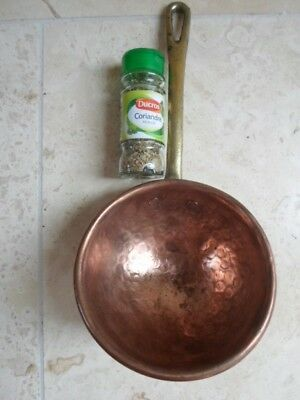Vintage French beaten copper ladle, brass hanging handle, kitchen display