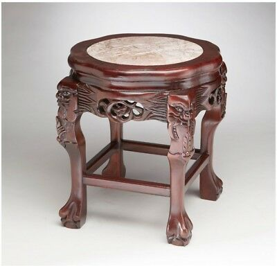 Hand-Carved Rosewood Asian Style Table Plant Stand ~ Claw Feet ~ Pink Marble Top