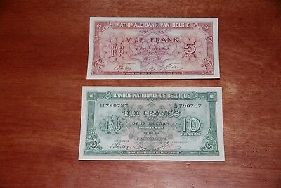 Lot Of Two 1943 (1944) Belgium 5 & 10 Francs Notes P 121,p 122 Unc Wwii