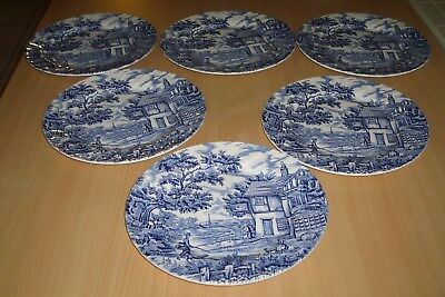 Serie De 6  Grandes Assiettes Plates Porcelaine Anglaise The Hunter By Myott