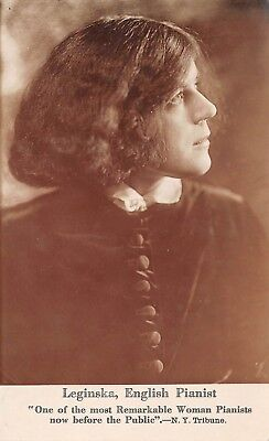 ETHEL LEGINSKA, ENGLISH PIANIST, HER AUTOGRAPH WITH MESSAGE ON BACK used 1916