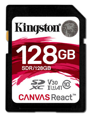 Kingston 128GB Canvas React SDXC (SD) Memory Card U3 100MB/s V-Class 30 A1