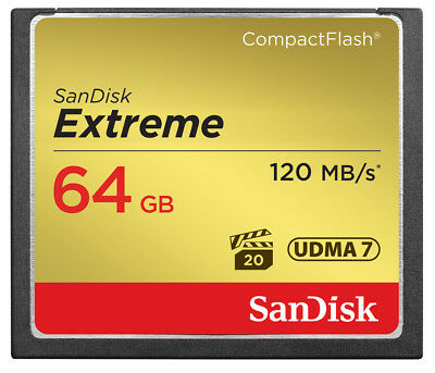 SanDisk 64GB Extreme Compact Flash (CF) Memory Card 120MB/s