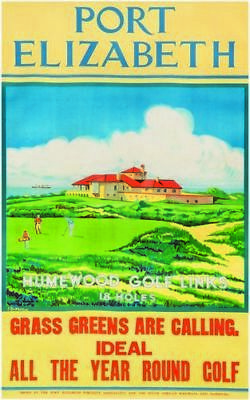 Vintage Port Elizabeth Golf All Year Tourism South Africa Poster Print A3/A4