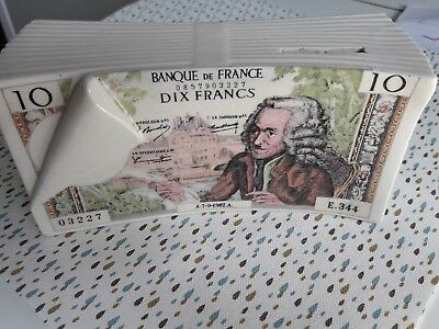 Tirelire vintage billet 10 francs voltaire collection 15cm x 5cm originale