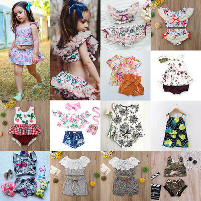 AU 2Pcs Newborn Kids Baby Girl Summer Lace Floral Tops Denim Shorts Dress Outfit