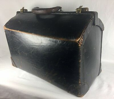 Antique Genuine Leather Doctor's Medical Bag Early 1900's Large