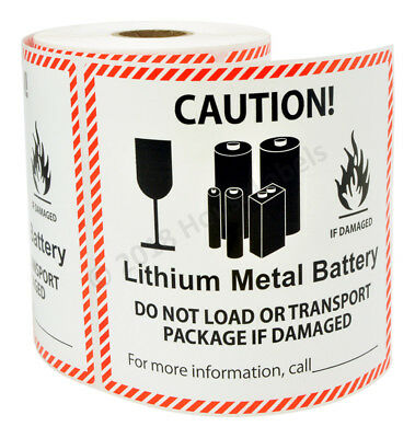 """25 LABELS Lithium Metal Battery Handling Labels Pre-Printed Stickers 4-5/8""""x5"""""""