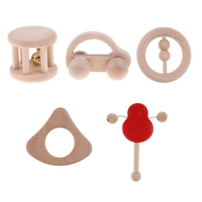 5PCS Wooden Baby Rattle Teether Montessori Educational Grasping Teething Toy