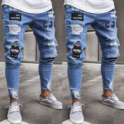 ab73ae373a7 Men Stretchy Ripped Jeans Skinny Biker Jeans Destroyed Taped Slim Fit Denim  Pant