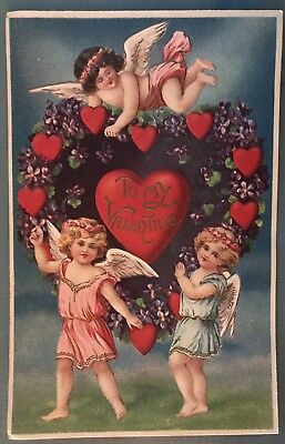 ~Pretty Trio of Cupids Angels with Red Hearts Vintage Valentine Postcard-g67
