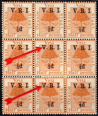O.F.S.  -> Brit. Bes., ½ penny, block of nine, ** mint with 2 x var. 'thick V'!!