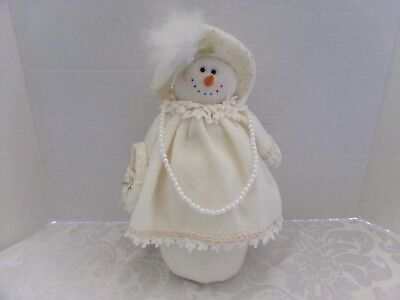 """Snowman~Snowlady Weighted Free Standing~White Plush~12"""" Tall"""