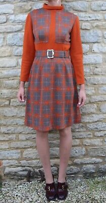 Vintage 60s 70s DL Barron Retro Geometric Pattern Mod Orange Wool Mini Dress  M