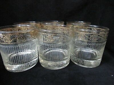 6 Culver TYROL 8 Oz. Old Fashioned Glasses Gold Band Etched Lines Mid Century