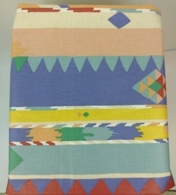 "Vtg 80s Collier Campbell Fabric Aztec Designer Screen Print 45"" width 1 yard +"