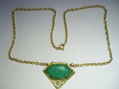 Pretty Vintage Art Deco Green Speckled Stone in Gold Metal Necklace