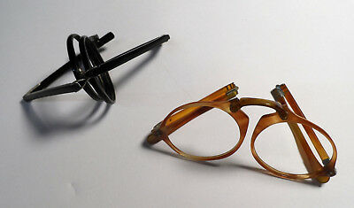 Antique folding spectacles 2 pairs PERFECT UNUSED OLD STOCK