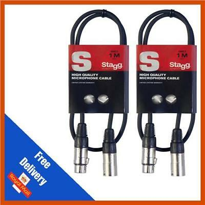 2 x 1m Stagg Microphone Cable Male to Female Balanced XLR Mic Audio Lead