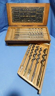 Vintage Irwin Auger Bits, Set of 14 in Wooden Swing Box