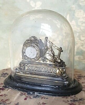 Vintage Antique Doll House Metal Mantel Clock With Glass Dome Larger Size