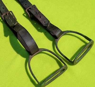 Marked NEVER RUST Vintage Antique Pair Brass Stirrup Irons Fillis & LEATHERS~NR!