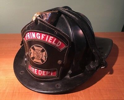 Vintage SPRINGFIELD FIRE DEPARTMENT Black CAIRNS & BRO Leather Badge Helmet