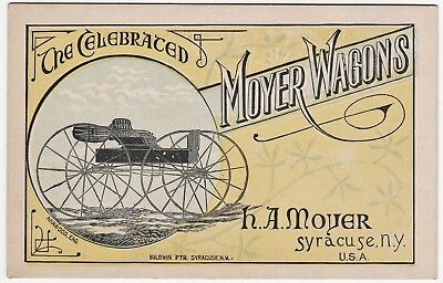 RARE Advertising Victorian Trade Card -Celebrated  Moyer Wagons 1884 Syracuse NY