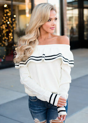 Sexy Womens Off The Shoulder Ruffles Long Sleeve Loose Lapel Neck Sweater Blouse