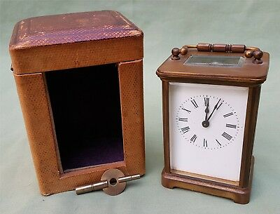 Nice quality antique Carriage Clock in original Case.   Working