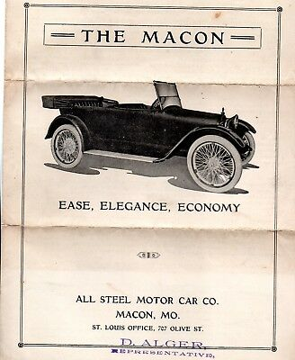 C 1916 4 PP Promotional For The Macon, All Steel Motor Car Co, Macon MO