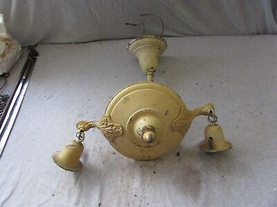 Antique Painted Brass 2 Arm Pan Chandelier Ceiling Light Fixture Ornate Salvaged