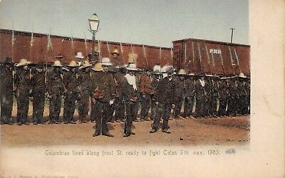 COLON, PANAMA, 1903 REVOLUTION, COLOMBIAN SOLDIERS READY TO FIGHT used 1905