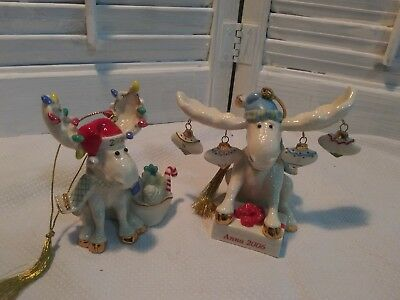 "2 Lenox 2006 ""Moose"" Porcelain Christmas Ornaments Anna"